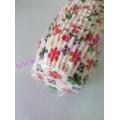 กระทงจีบสีขาวลายดอกไม้