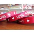 ริบบิ้นลาย Love สีแดง